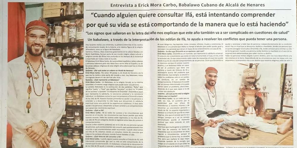 Entrevista babalawo erick mora periodico el quijote alcala de henares